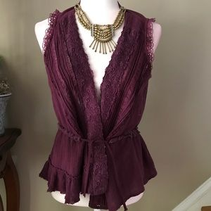 Free People Purple Lace Sleeveless Top Medium